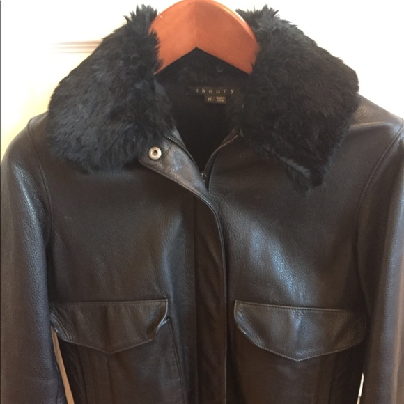 be0ef2ca91bb0 Theory leather bomber jacket -rabbit fur collar. M 5a5cd106b7f72b943251e1c7